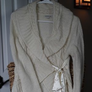 Charlotte Russe Cream wrap cardigan with bow
